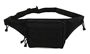 Mens Gun Pistol Pouch Carry Concealment Concealed Large Tactical Nylon Fanny Pack with Key Ring Carabiner