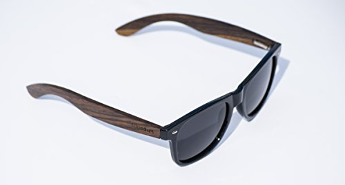 Wood Sunglasses with Polarized Lens in Bamboo Tube Packaging Woodies 4 COMFORTABLE: Handmade from REAL Walnut Wood EXTRAS: Includes FREE Bamboo Tube, Lens Cloth, and Wood Guitar Pick PROTECTION: Polarized Lenses Provide 100% UVA/UVB Protection