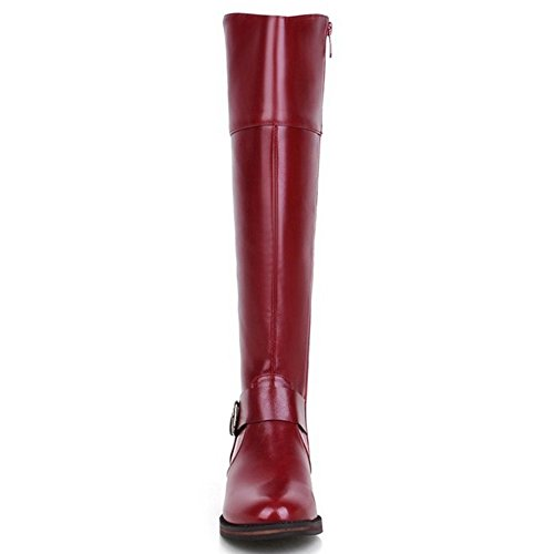 24 Cremallera Botas Rojo Coolcept Simples Mujer AnUOn6B