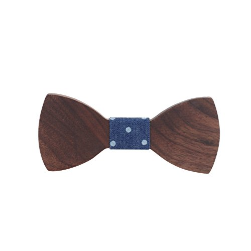 Walnut Wood Wooden Bow Tie By SHADERZ - Handmade With Adjustable Strap Polka Dot Blue from SHADERZ