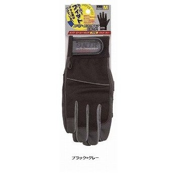 おたふく手袋/合成皮革手袋 PU-KING [10双入]/品番:K-17 サイズ:M カラー:ブラック×グレー B01N2XWNXV