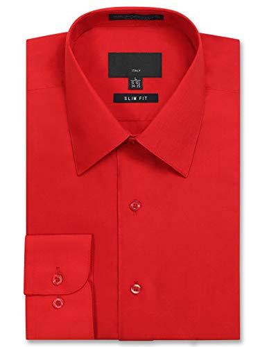 JD Apparel Men's Long Sleeve Slim Fit Solid Dress Shirt 15-15.5 N : 34-35 S Red