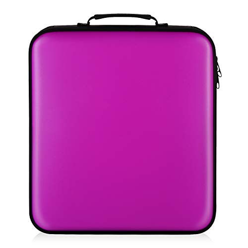 COOFIT CD Case, 160 Capacity DVD Storage DVD Case VCD Wallets Storage Organizer Flexible Plastic Protective DVD Storage Purple