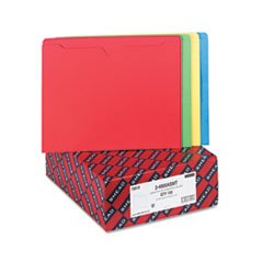 * File Jackets with Double-Ply Tab, Letter, Blue/Green/Red/Yellow, 100/Box