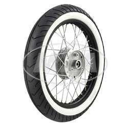 Komplettrad - VORNE - 1,5x16 Zoll - Alufelge schwarz eloxiert und poliert, Chromspeichen - MITAS-Weiß wandreifen MC2 montiert MZA Meyer-Zweiradtechnik GmbH