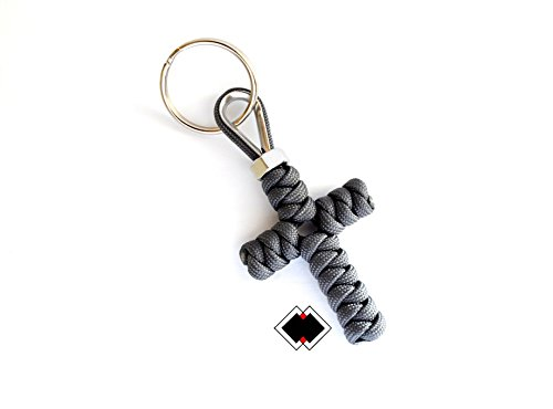 Cross keychain - 550 Paracord - Grey - Handmade in USA -