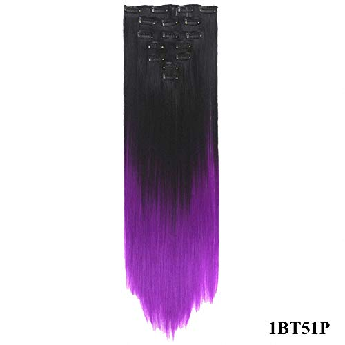 Extension Digital Hair (PrettyWit 23-24 Inch Long Straight Ombre Full Head Clip in on Synthetic Hair Extensions 7pcs/set for Women-Black to Purple 1BT51P)