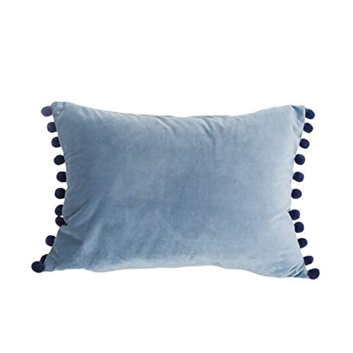 iHogar Lumbar Throw Pillow Case Covers Soft Velvet Cushion Cover with Pom Poms for Couch Bedroom Car Home Decorative 12 x 20 Inch / 30 x 50 cm Blue Grey (Velvet Throw Pillow Blue)