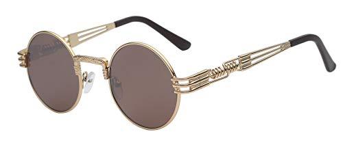 Gothic Steampunk Sunglasses Men Women Metal WrapEyeglasses Round Shades Brand Designer Sun glasses Mirror UV400,Gold w brown ()
