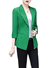 a63d1295d13 pujingge-CA Women s Casual Solid Long Sleeve Slim Office Blazer Jacket Suits
