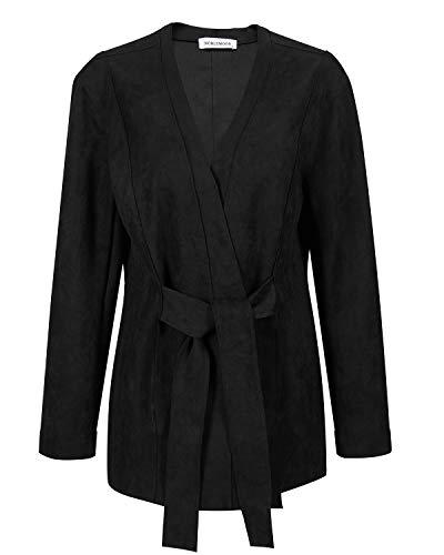 Suede Leather Coat - NOBLEMOON Coat Black Woman, Women Casual Short Coat with Pocket Stlylish Soft Fabric Lab Leather Jacket for Work