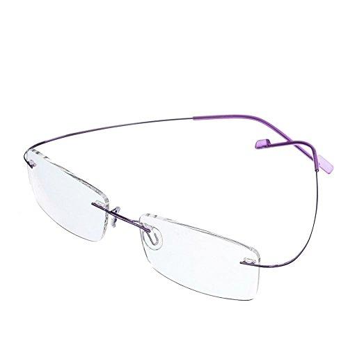 - Reading Glasses +2.75 Men Women Fashion Rimless Reading Eyeglasses Super Light 100% Titanium Frame Purple Color+ Eyewear Case
