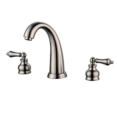 Azamon Silver Bathroom Faucet Waterfall Dual Handles One Hole Vanity Sink Mixer Tap Modern Stylish Contemporary Elegant Design Ceramic Valve (Cascada Vanity)
