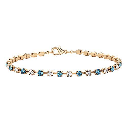 (Palm Beach Jewelry Birthstone Crystal Gold Tone Tennis Bracelet 7.25
