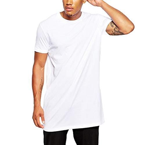 SFE Men's Pure Color Short Sleeves T-Shirt Sports Top Blouse Casual Party Holiday Summer Fashion New 2019 White