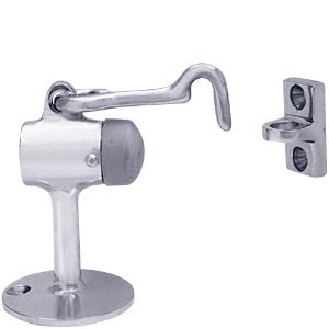 Aluminum Finish Floor Mounted Heavy Duty Door Stop With Hook And Holder