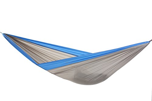 BYER OF MAINE Easy Traveller Hammock, Single Person, Lightweight, Easy to Transport, Nylon Fabric, Easy to Hang, Blue/Grey, 116