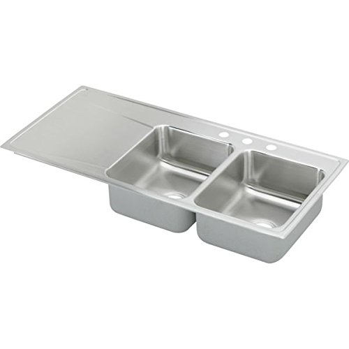 Elkay ILR4822R1 1-Hole Gourmet Lustertone Stainless Steel 48-Inch x 22-Inch Double Right Basins Top-Mount Kitchen (Lustertone Double Bowl Corner Sink)