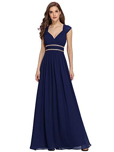 Ever-Pretty Dames V Hals Chiffon A-lijn Vloerlengte Empire Taille Bruidsmeisjes Jurken 08697