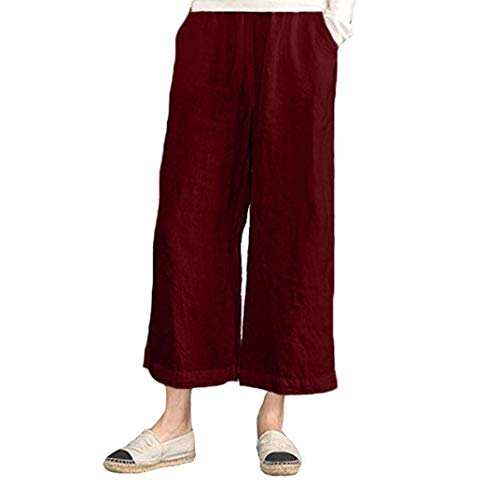 Cropped Crepe Pants Petite - iYYVV Womens Elastic Waist Casual Cotton Linen Loose Trousers Cropped Wide Leg Pants Red