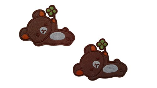 2 pieces BABY BEAR Iron On Patch Applique Embroidered Motif Fabric Decal 2.7 x 2.1 inches (7 x 5.5 cm)