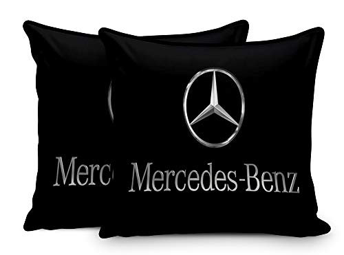 Sleep Nature's Cotton Automobile Cushion Set with Piping Pillows with Your Automobile Model Emblem – 12×12 Inch, Set of two, Black