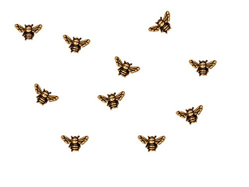 10 Pc Antique Gold Honey Bee Pewter Bead By Tierracast - Bee Bead