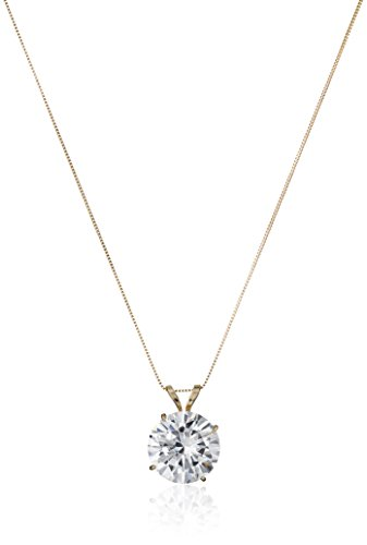 "14k Gold Cubic Zirconia Solitaire Pendant Necklace, 18"" 1"