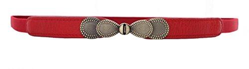 Women Metal Fashion Skinny Leather Belt Gold Elastic Buckle belt solid color (Red Belt Skinny)