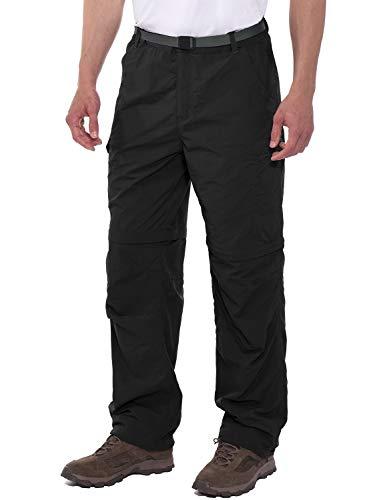 Mens Pant Convertible (Spexial Men's Stretch Convertible Pants Zip-Off Quick Dry Hiking Pants Black Size XL)