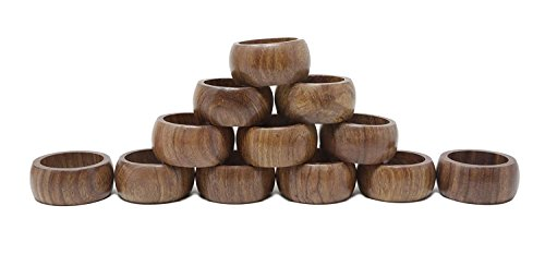 ShalinIndia Handmade Table Decoration Wooden Napkin Rings Set Of 6-For Daily Use Dinners Parties- Light Weight 10 Grams-Diameter 1.75 Inch