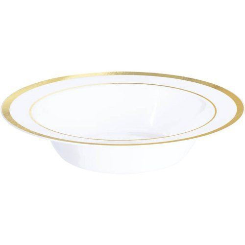Amscan Elegant Premium Plastic Bowls Party Tableware Reusable Dishware Trim Supplies , White/Gold, 120 (Gold Trim Serving Bowl)