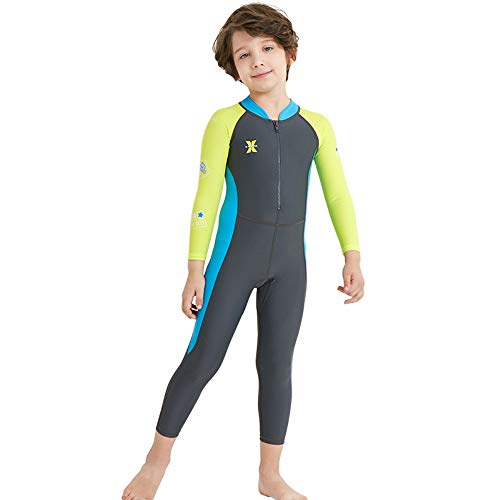 DIVE & SAIL Kids Rash Guard, UPF 50+ Long Sleeve Full Swimsuit for Girls and Boys Snorkeling, Diving Scuba and Pool Multi Water Sports (Thin) ()