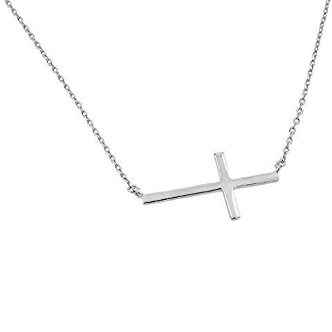 High Polished 14K Solid White Gold Sideways Cross Necklace with Rolo Link Chain - 16