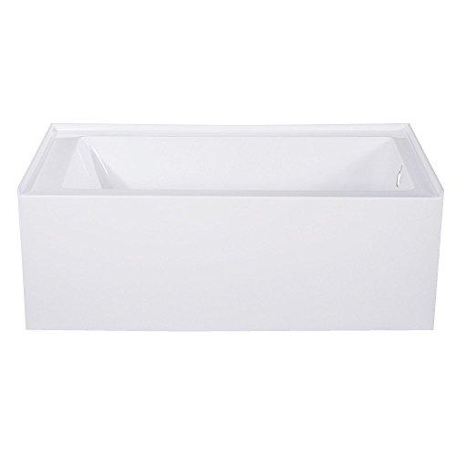 Kingston Brass VTAP543022R Aqua Eden 54-Inch Acrylic Alcove Tub with Right Hand Drain Hole, White