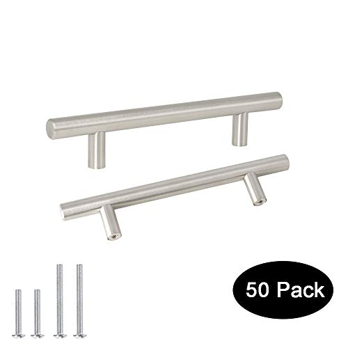 Probrico Kitchen Cabinet Handles 4 inch Hole Centers Drawer pulls, Stainless Steel Cabinet Hardware for Kitchen Cupboard 50 Pack ()