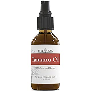 Pur360 Tamanu Oil - Pure Cold Pressed - Best Treatment for Psoriasis, Eczema, Acne Scar, Foot Fungus, Rosacea - Relief for Dry, Scaly Skin, Scalp and More