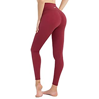 DOMODO Women High Waist Yoga Pants Tummy Control Workout Stretchy Active Leggings(Wine Red,Small)