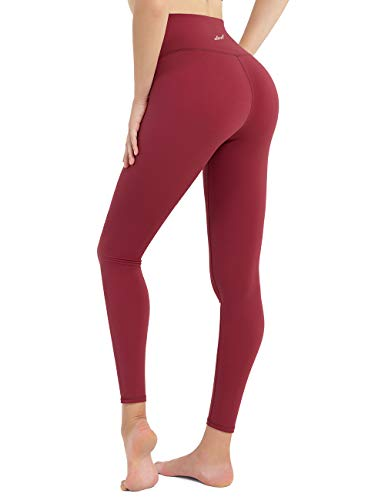 DOMODO High Waist Yoga Pants for Women,Tummy Control Workout Stretch Yoga Leggings Running Wine Red