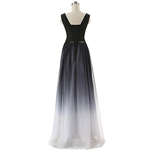 Chiffon A MALL Prom Dresses Black Women's Gowns Party BRL Gradient Long A Line 0nfpxqC