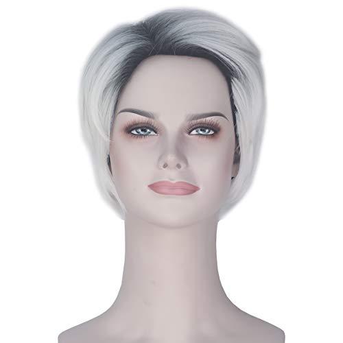 Miss U Hair Female Short Straight Wave Hair Black Gradient Blonde Dyeing Costume Wig]()