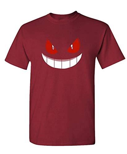 XFPrint66 - Gengar Halloween FACE - Mens Cotton T-Shirt Funny Design Maroon -