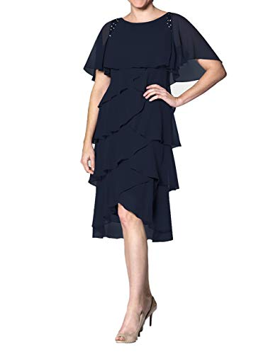 - Cdress Chiffon Mother of The Bride Dresses Plus Size Evening Formal Gowns Short Prom Dress Sleeves US 16W Navy