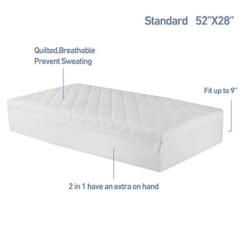 Waterproof Crib Mattress Protector (Set of 2) 52x28 in Toddler Mattress Cover Soft Fitted Bamboo Mattress Pad with 9 in Pocket Breathable