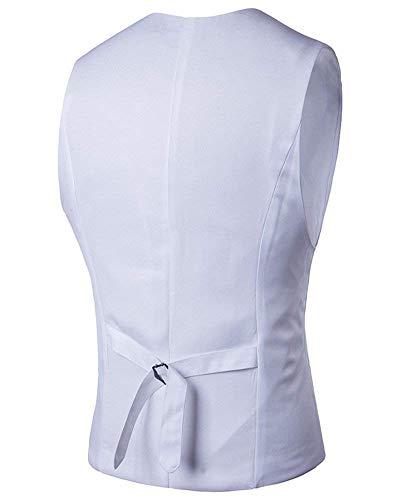 5 Business Breasted Fit Single Blanc Homme Pour Hommes Gilet Avec Retro Slim Targogo Casual YgSn8Avn