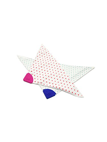 - Baby Bandana Drool Bib With Teether Toy, BPA Free, Organic Cotton, 2 Pack (Blue Stars, Red Hearts Pattern)