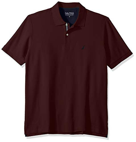 Nautica Men's Big and Tall Classic Fit Short Sleeve Solid Performance Deck Polo Shirt, Royal Burgundy, 4X (Performance Deck)