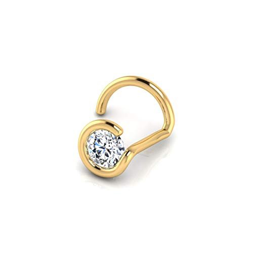 Real Diamond Stud Nose Ring - Yellow Gold Diamond Stud Nose Ring for Women | 14k Gold 1.5mm 0.015 Carat Stud Nose Ring by Sparkle Bargains
