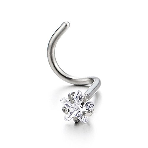 COOLSTEELANDBEYOND Stainless Steel Screw Nose Rings Studs with Star Cubic Zirconia Body Jewelry Piercing
