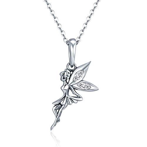 Auténtica cadena de plata de ley 925 con colgante de hada de flor para mujer, plata de ley a buen precio